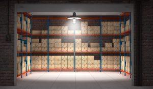Storage boxes in rack
