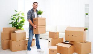 Man packing boxes