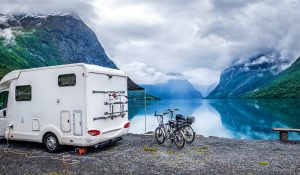 Rv parked near a scenic view