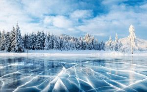 ice on lake with snow