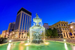 Montgomery fountain night