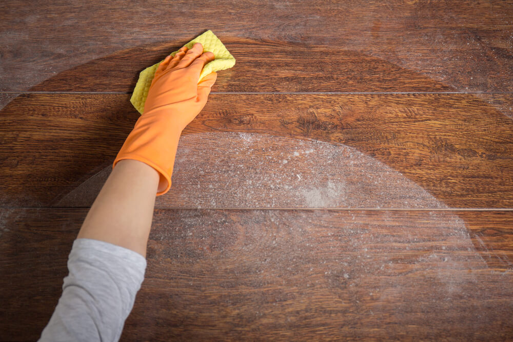 dusting with yellow cloth