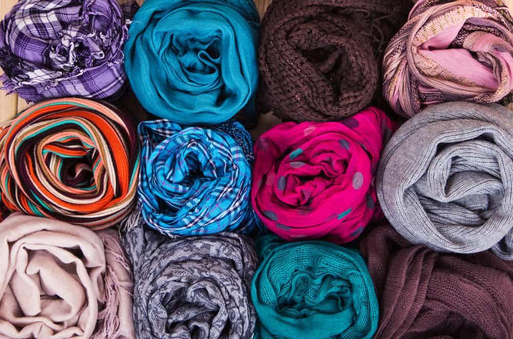 rolled scarves