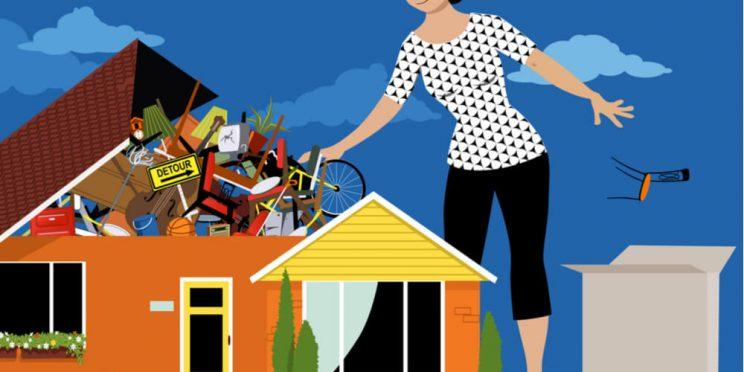 declutter house cartoon
