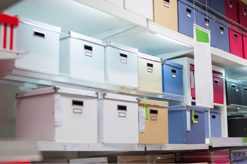 multi-colored storage bins