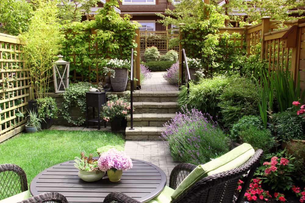 fully realized small garden space