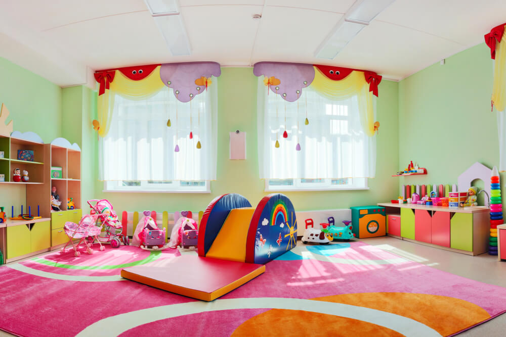kindergarten playroom with slide bright colors