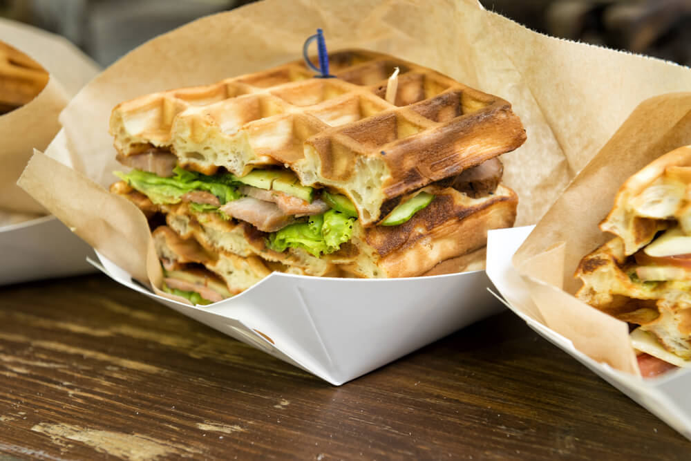 turkey and waffle sandwich with lettuce