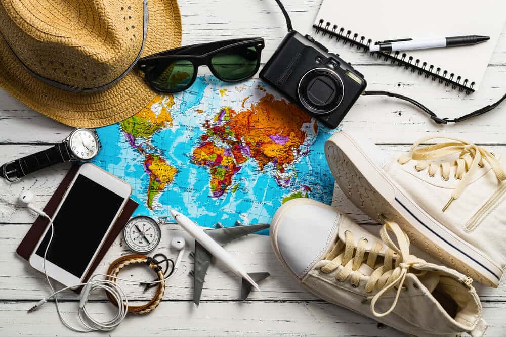 travel gear spread across table