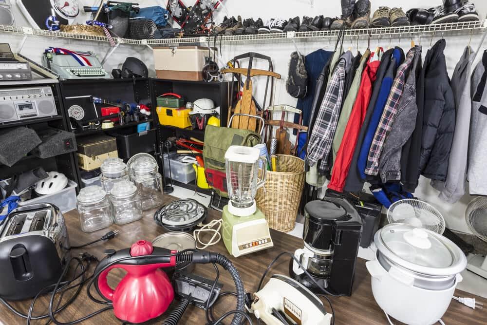 very cluttered garage