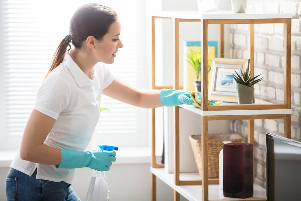 woman dusting living room shelf