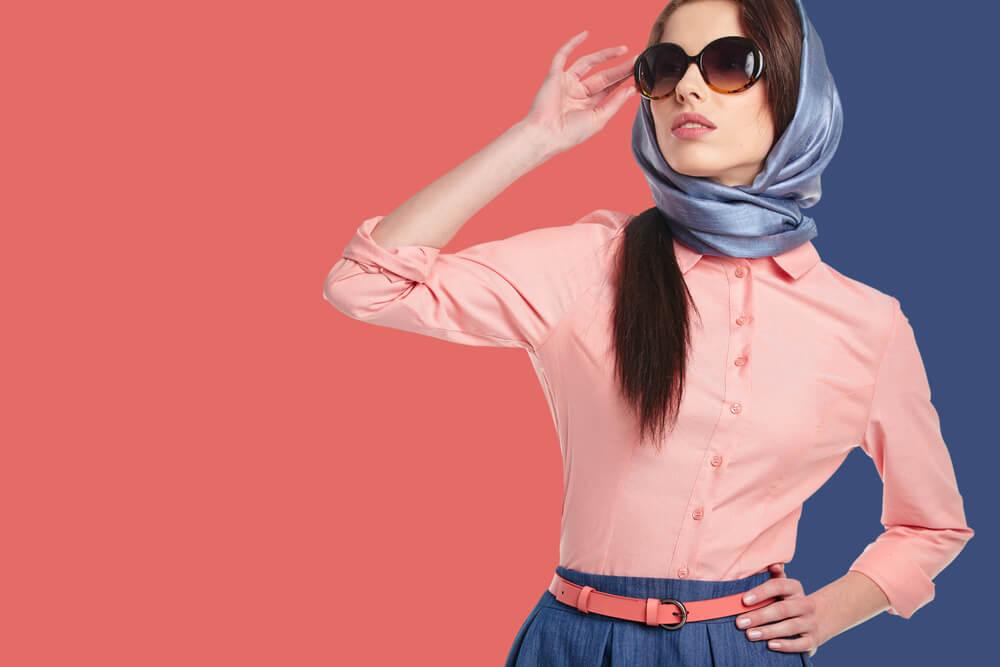 woman wearing pastel scarf