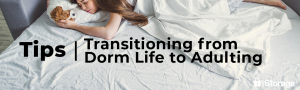 lazy college student laying in bed. tips for transitioning from dorm life to adulting